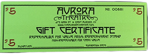 aurora theatre, gift certificate